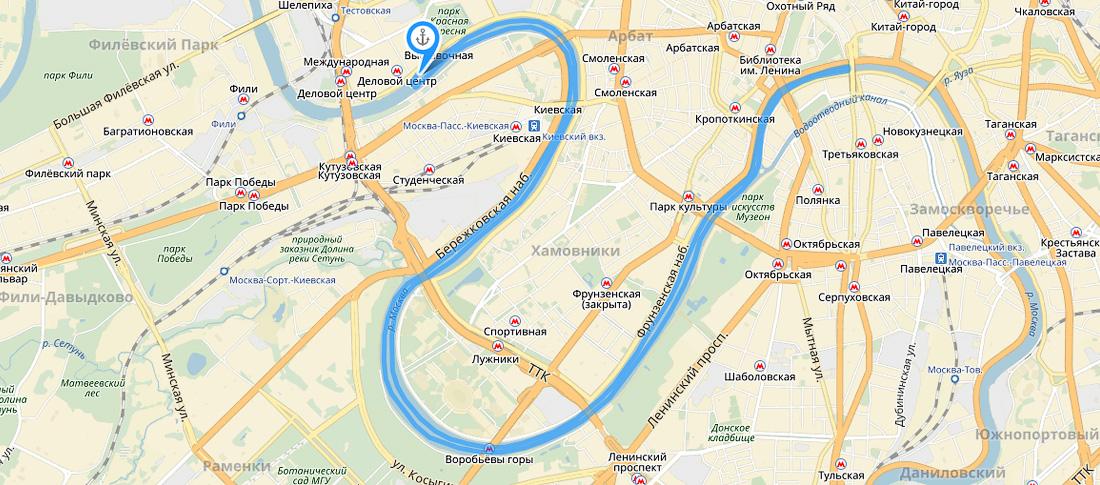 карта Москвы речная прогулка