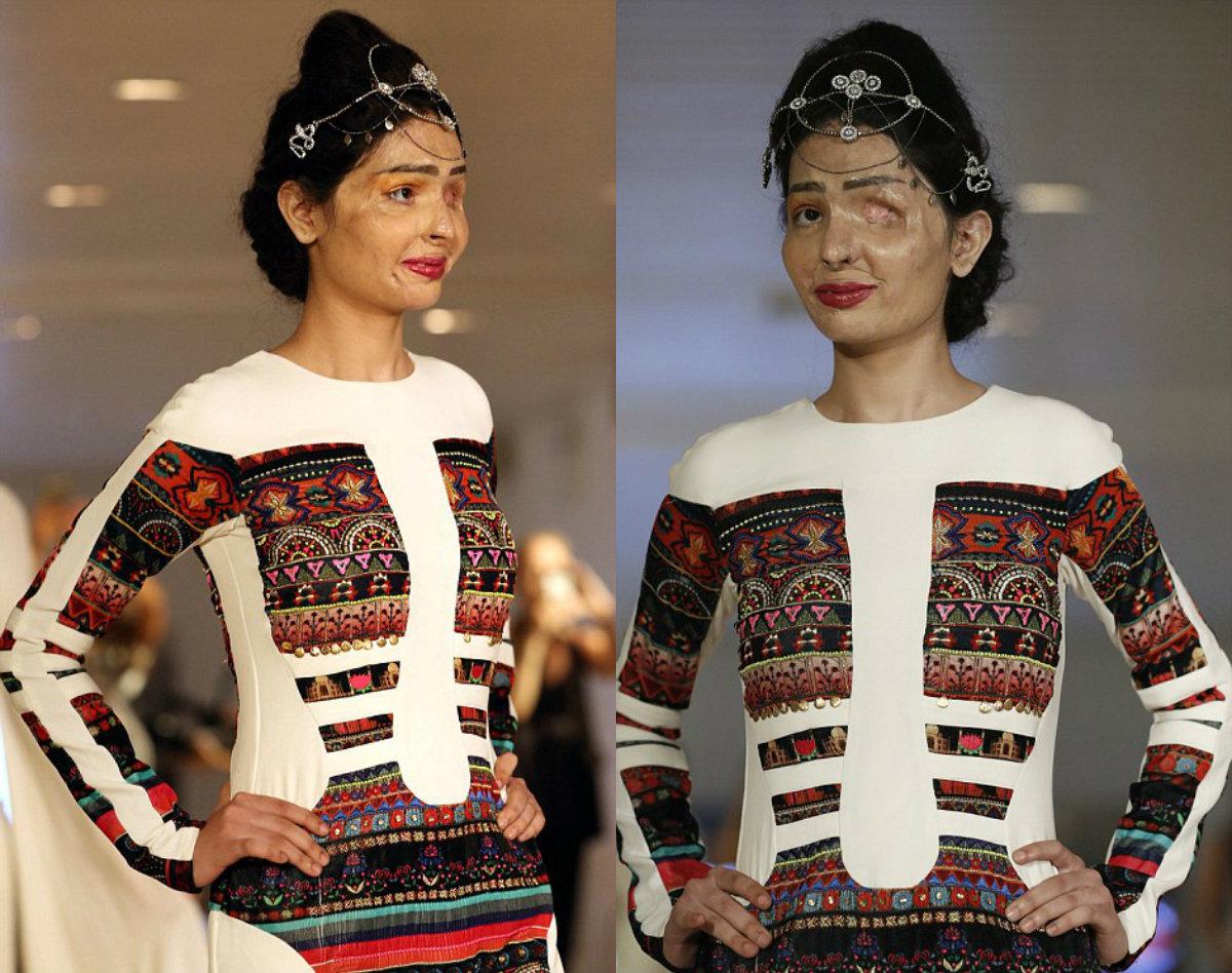 Модель прошлась по подиуму в платье цвета слоновой кости, украшенном разноцветной вышивкой, и со све