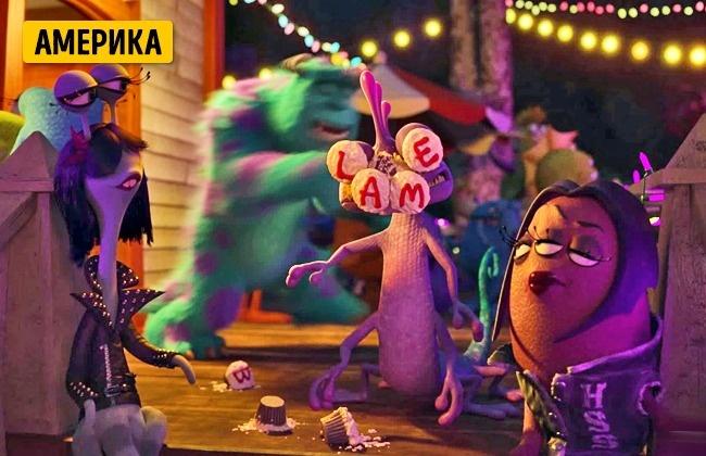 © Disney  Вэпизоде спогоней заталисманом-свинкой Майк толкает Рэндалла, икексы наего лице