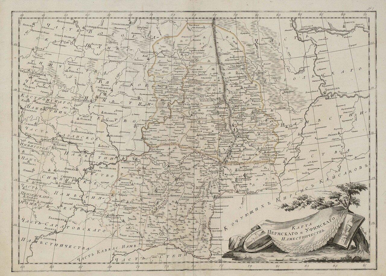 10. Карта Пермского и Уфимского наместничеств