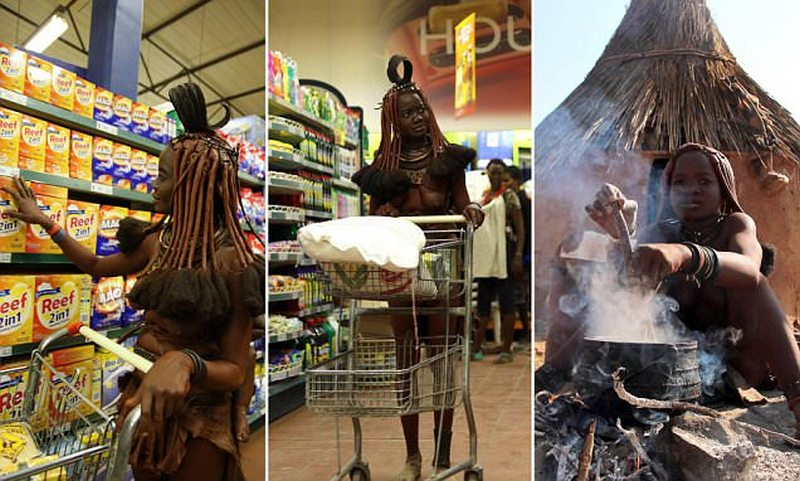 Столкновение двух миров: Женщина из племени Химба в супермаркете