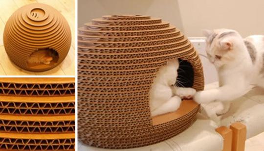 Как сделать круглый домик для кошки