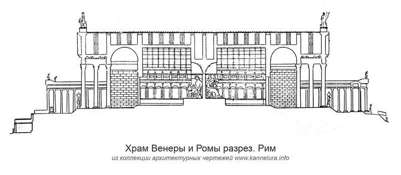 Храм Венеры и Ромы, разрез