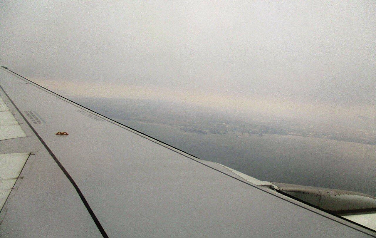 Boarding at Ataturk airport. Over the Marmara sea