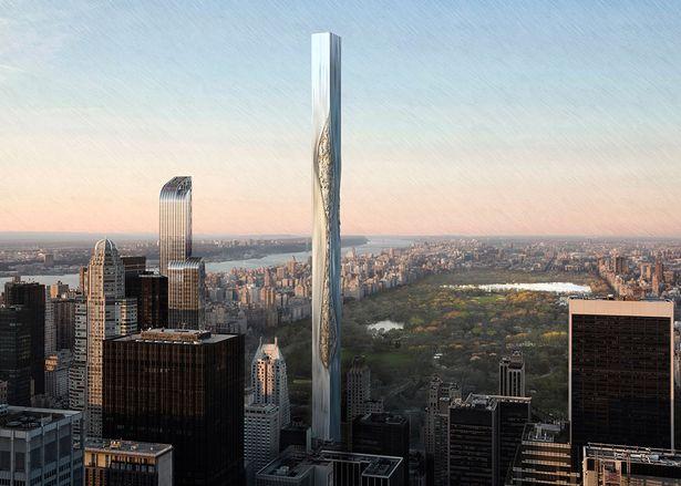 Небоскреб из гнущегося материала в Нью-Йорке.