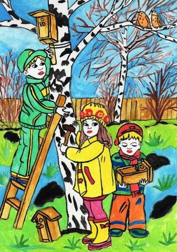 Весенние заботы - Глухоедова Ирина Юрьевна, 6 лет, Тема -- Рисунок, с-с Большесолдатский (Большесолдатский р-н).jpg