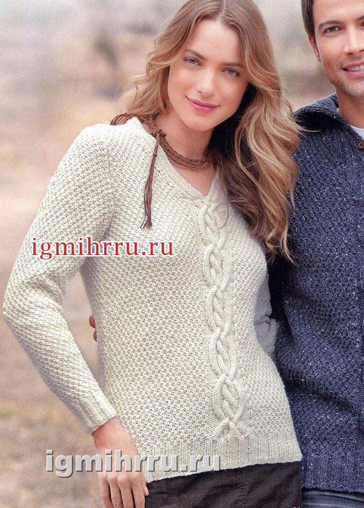 Белый пуловер с центральной косой. Вязание спицами