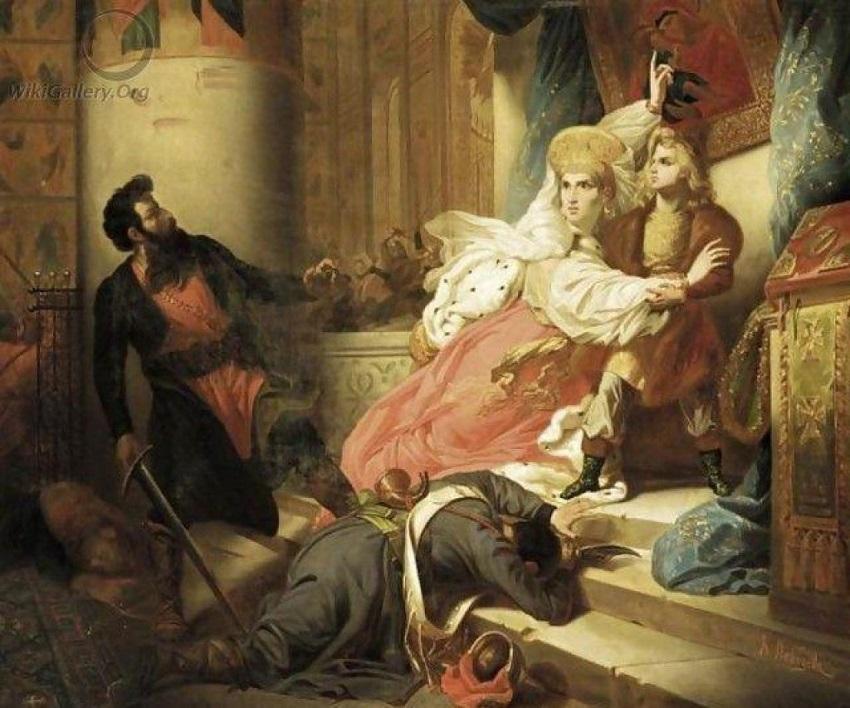 Царь Петр Алексеевич во время стрелецкого бунта в Московском Кремле 15 мая 1682 года (1839)