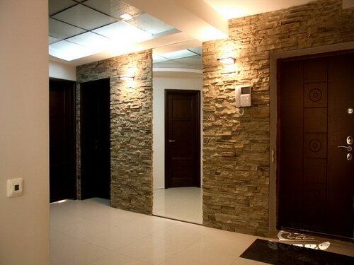 023. интерьер, коридор, камень, посветка