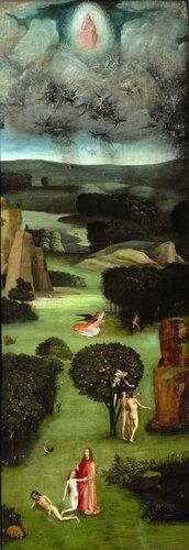 11.1.Триптих 'Страшный суд' (ок.1482) (167.7 х 60) (Вена, Галерея Академии изящ.искусств). Левая панель. Рай с падением ангелов.jpg
