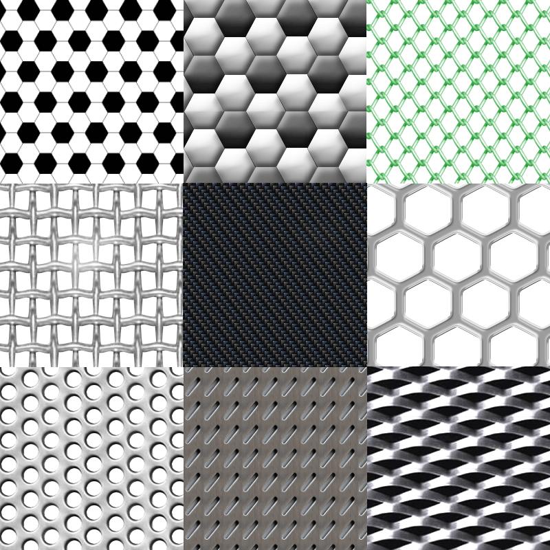 Металлические поверхности и сетки - паттерны Photoshop