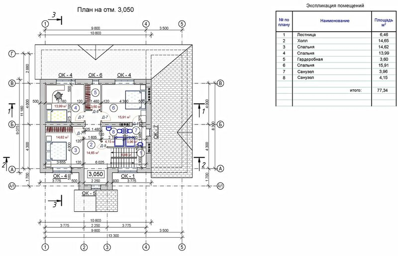 Проект частного дома, план второго этажа