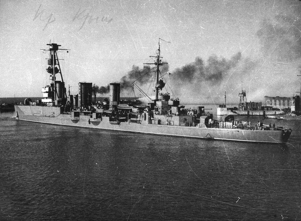 Soviet light cruiser Krasnyi Krym leaving port of Poti, Georgia 1943