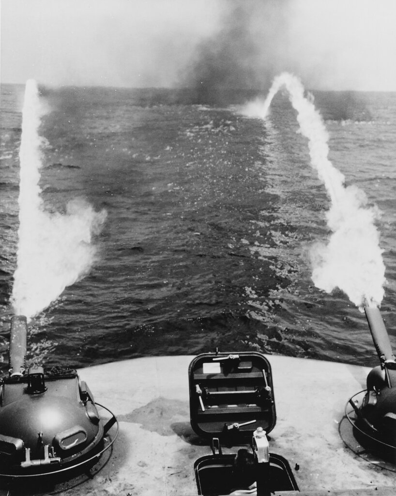 Monitor flame boat fires its twin mio-8 flame throwers. In test off the coast of San Diego, California. Tue, Aug 06, 1968