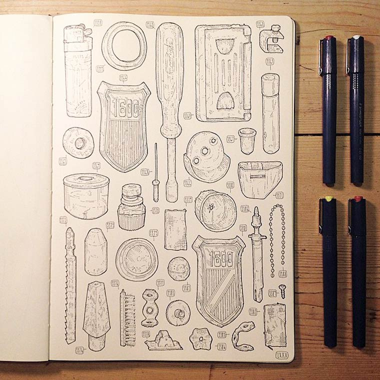 The Shed Project - An illustrator is drawing all the tools owned by his late grandfather