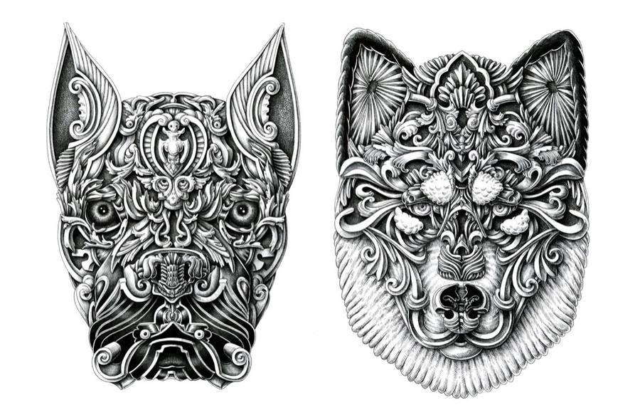 Stunning Ornate Dog Heads Drawings (6 pics)