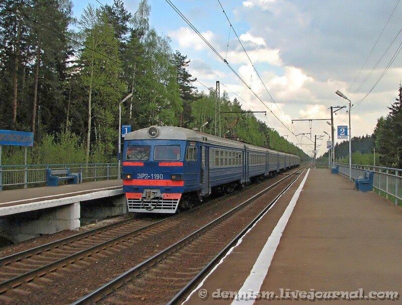 Электропоезд ЭР2-1190, о.п.Циолковская, перегон Монино -Чкаловская