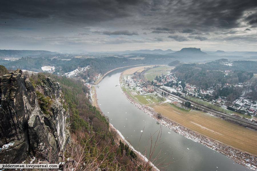 Панорама Германия - вид на реку Эльбу
