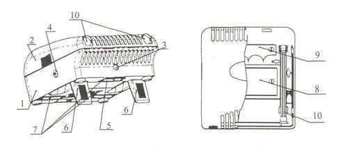 Общий вид ионизатора воздуха.  1 - Корпус, 2 - Съемная крышка, 3 - Светодиодный индикатор питания, 4...
