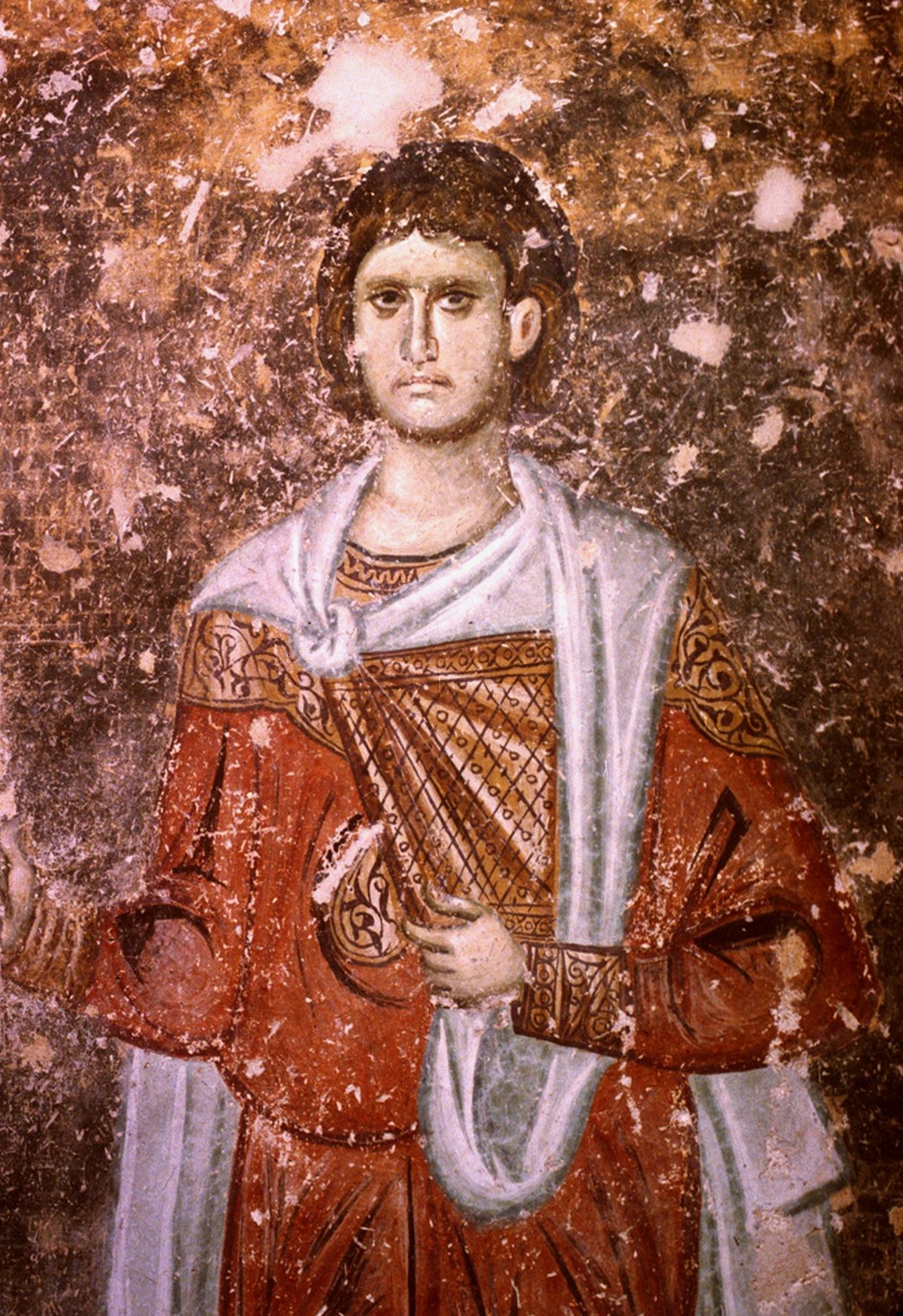 Святой мученик Сергий Римлянин. Фреска монастыря Сопочаны, Сербия. XIII век.
