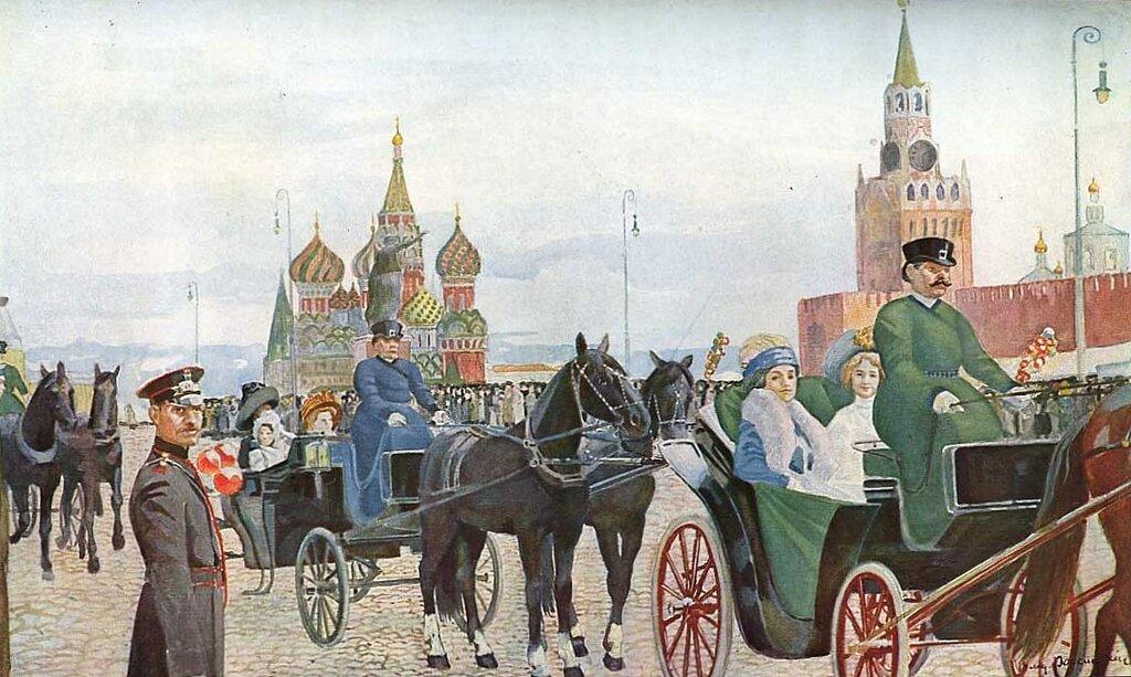 Владимир Россинский - Катание в Вербное воскресенье на Красной площади, 1910-е