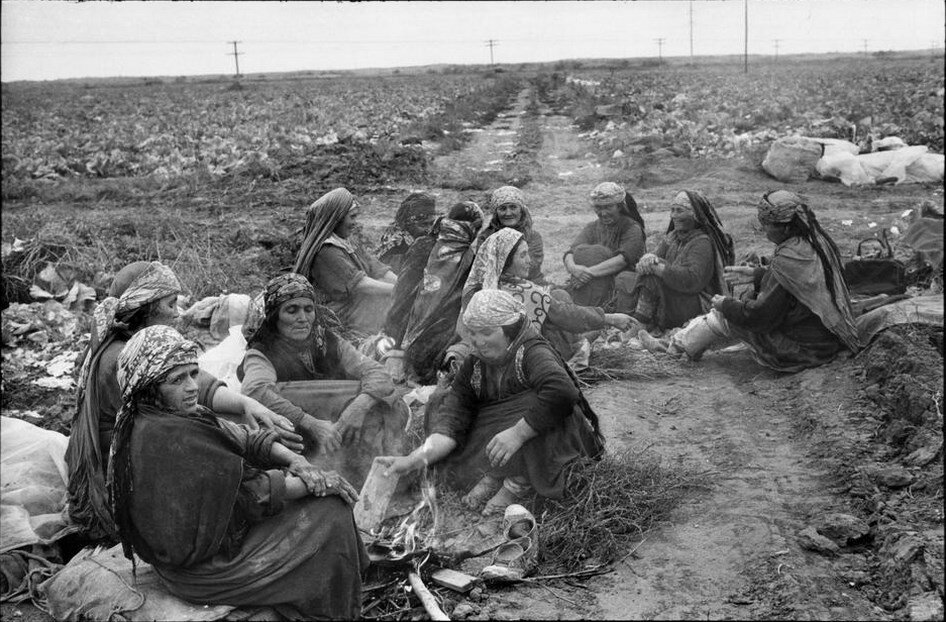 1972. Туркменистан. Ашхабад. Колхоз «Совет Туркменистана». Женщины, отдыхающие в полях капусты