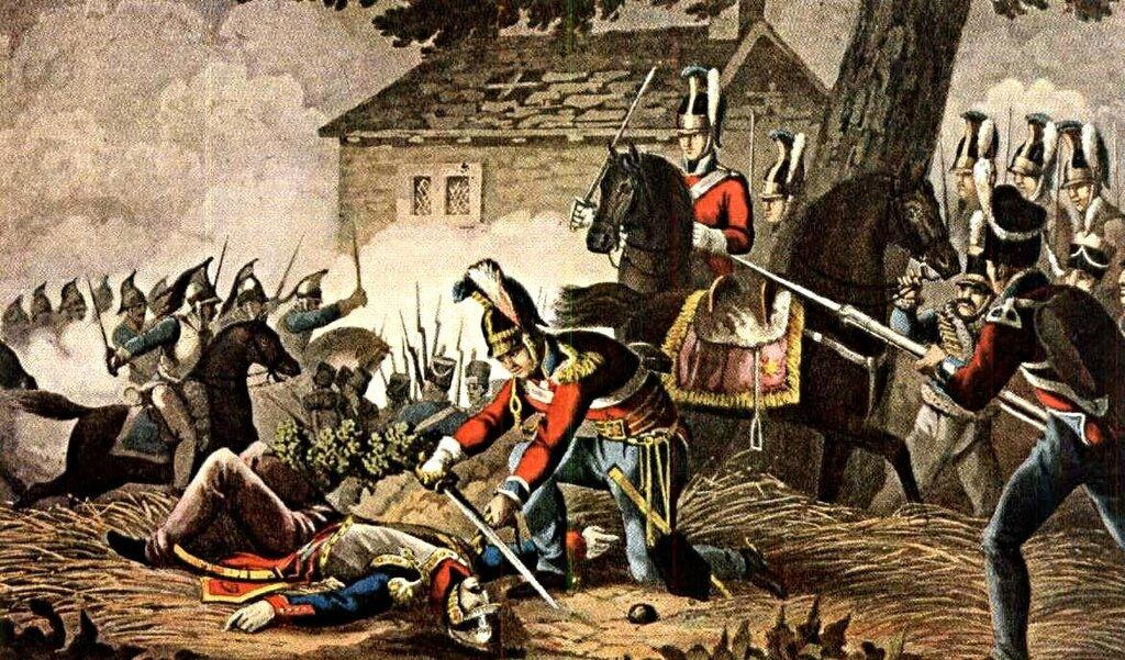 Капитан Келли из 1-го лейб-гвардейского полка срезает погоны с мундира французского офицера во время сражения при Катр-Бра.jpg