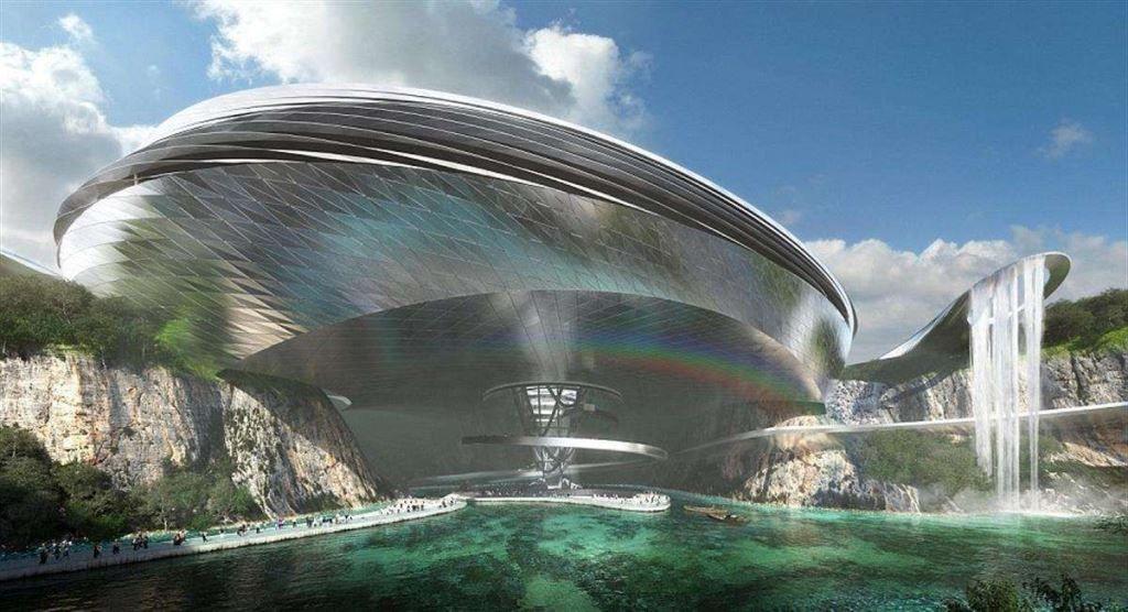 5. Горный комплекс Dawang — футуристический отель в Китае Еще один отель строится в заброшенной каме