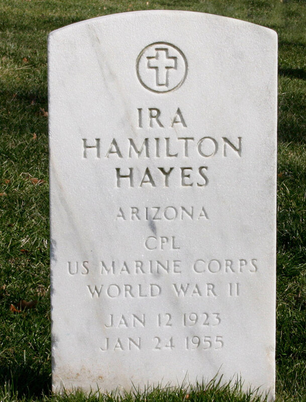 Ira Hayes' white marble government headstone in Arlington, Virginia