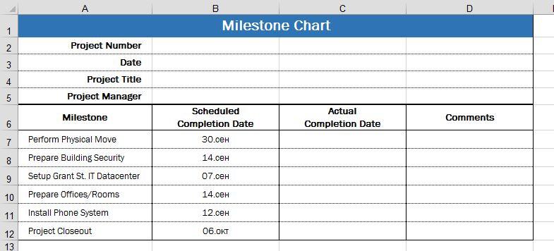 Четыре возможных способа использования Excel для отображения календарного плана проекта