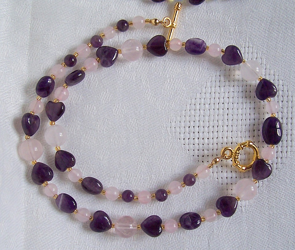 amethyst,rose quartz,necklace