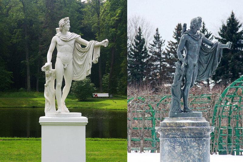 Статуи Аполлона Бельведерского в Петродворце и Ораниенбауме