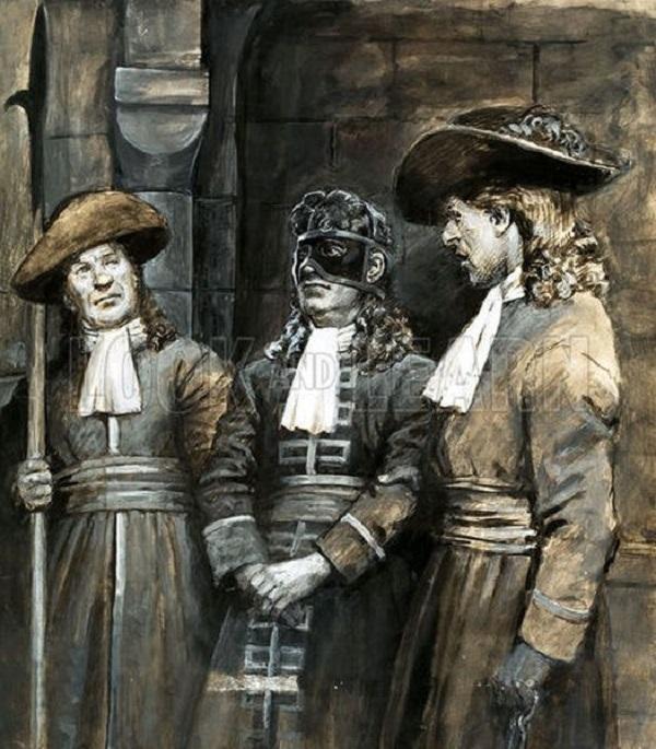Легенда возникла из-за таинственного безымянного узника, скончавшегося в 1703 году в Бастилии. Первы
