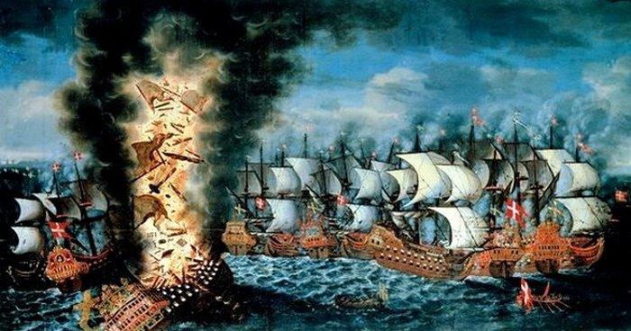 Бой, в котором участвовал военный корабль Kronan. Во время подготовки к бою в 1676 году королевский