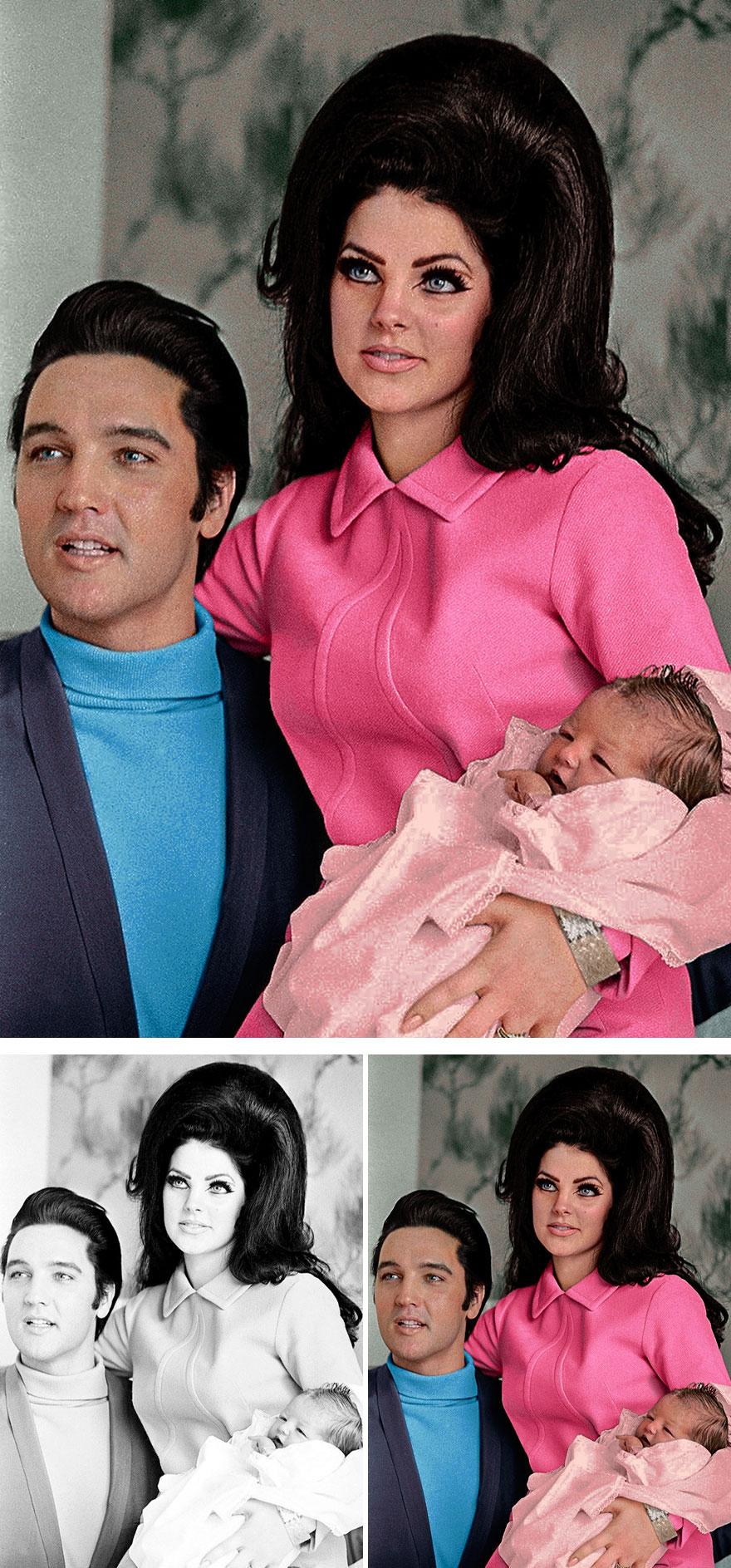 Элвис Пресли с женой Присциллой и дочерью Лизой Марией.