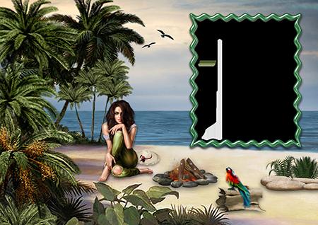 Фоторамка с сидящей около костра девушкой на берегу моря среди пальм