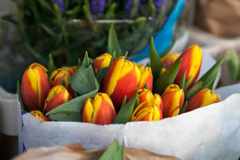 bouquet of tulips in Kraft paper