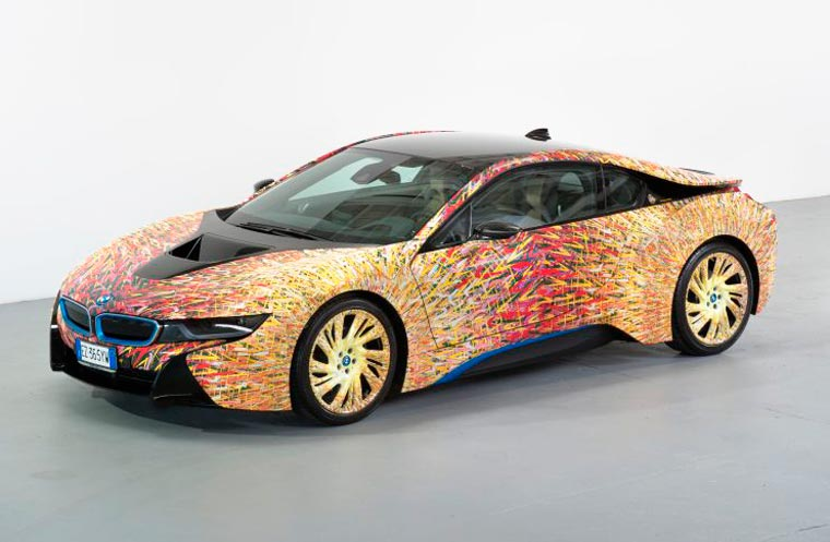Garage Italia Customs, BMW i8 painted with Giacomo Balla's Street Light, 2016