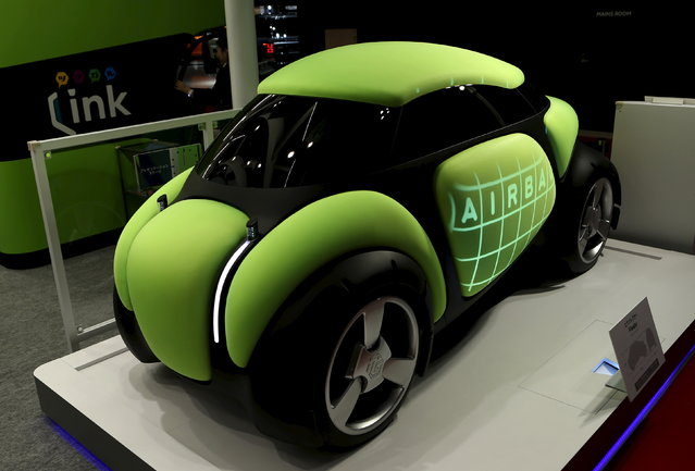 """Toyoda Gosei Co Ltd's personal mobility concept airbag car """"Flesby"""" is displayed at the 44th To"""
