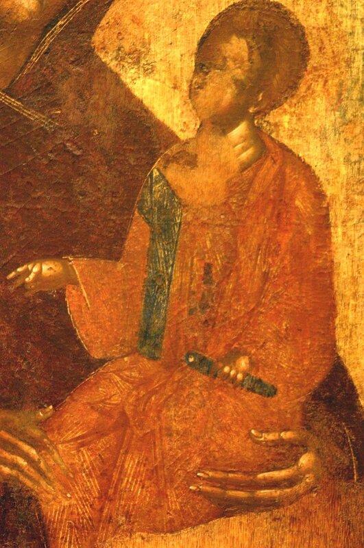 Богоматерь Одигитрия. Икона XV века. Византийский музей в Афинах. Фрагмент.