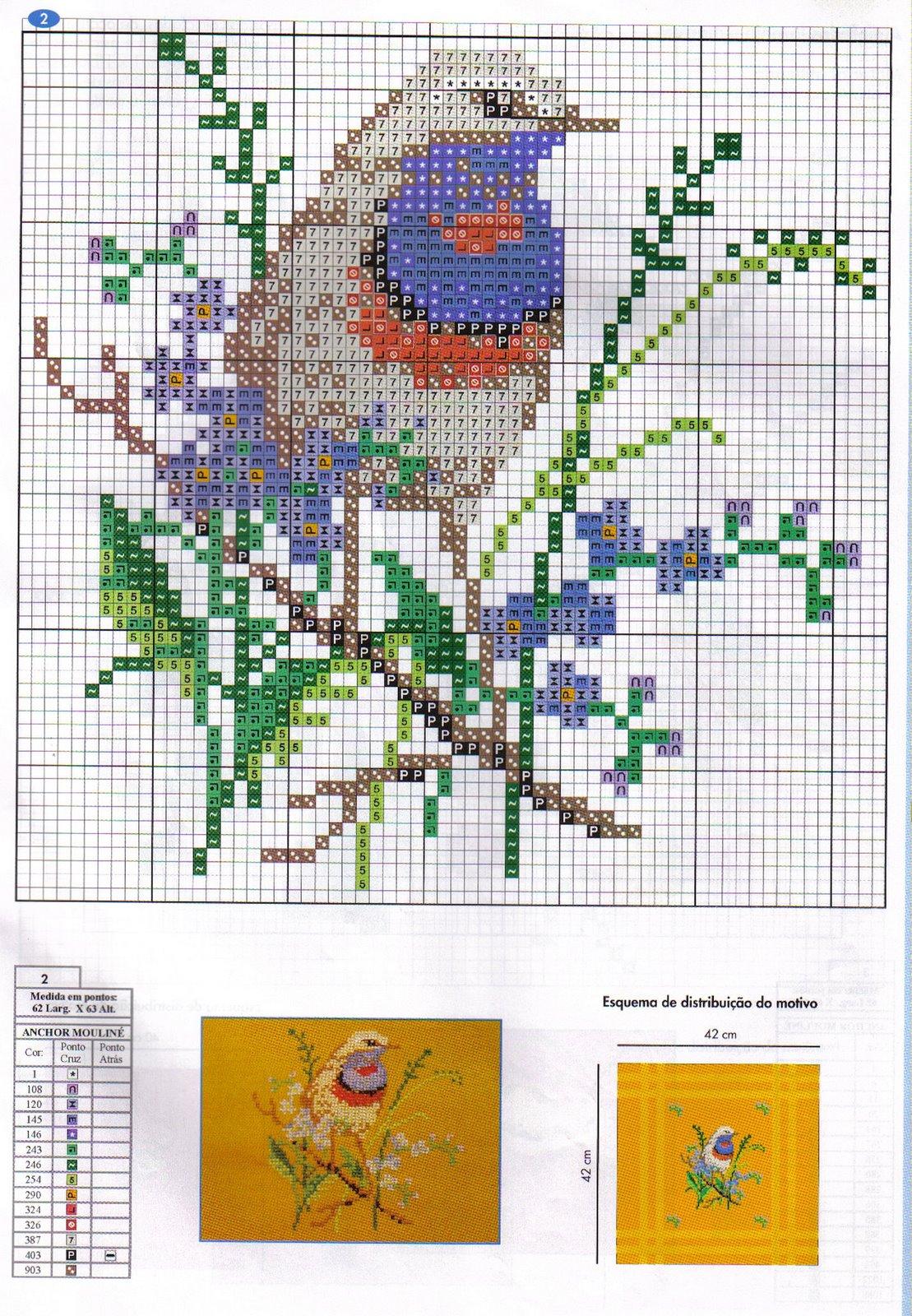схема вышивки гладью птицы