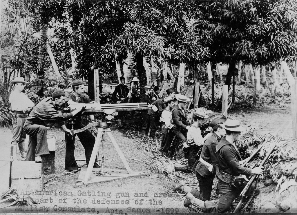 An American Gatling gun and crew and part of the defenses of the British Consulate, Apia, Samoa, 1899