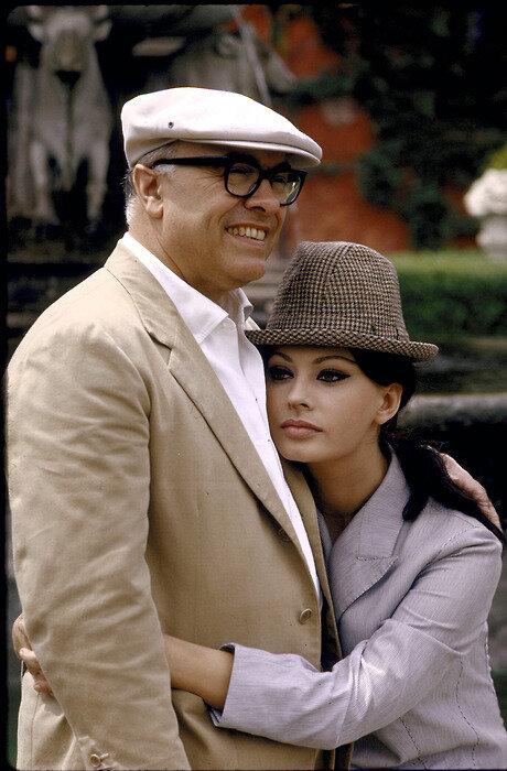 Carlo Ponti and Sophia Loren at their villa, 1964