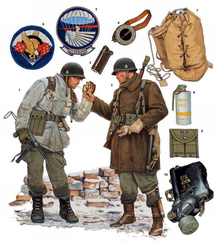 Вооружение и экипировка военнослужащих 501-го и 506-го парашютных пехотных полков армии США в Бастони в Бельгии (декабрь 1944 года)