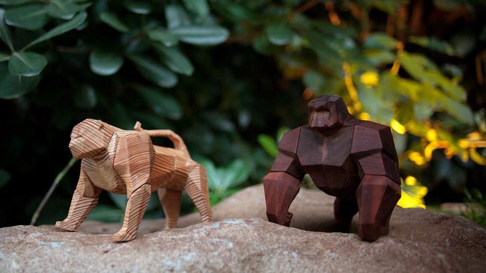 Геометрические фигурки животных из дерева