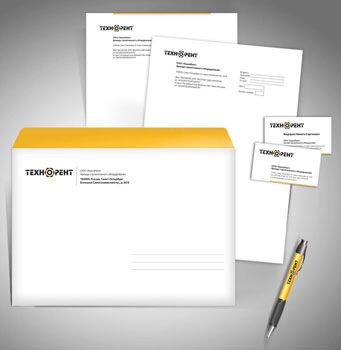 Логотип и фирменный стиль для компании Технорент - портфолио НВ-Проджект.