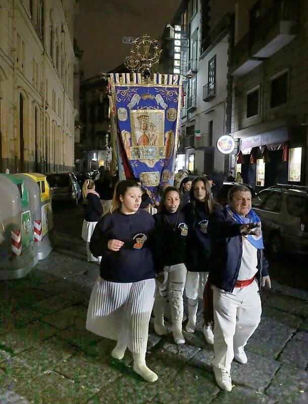 Naples. Night procession on the Sedile di Porto
