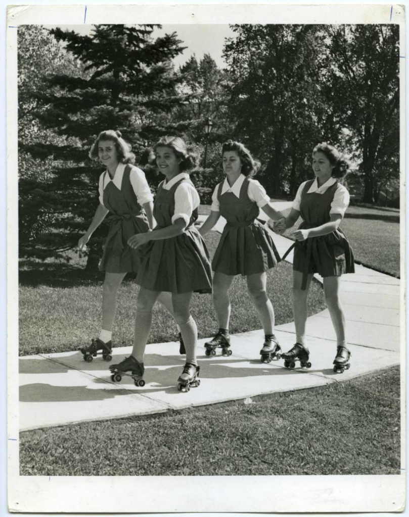 Roller skating on Campus, 1950s.jpg