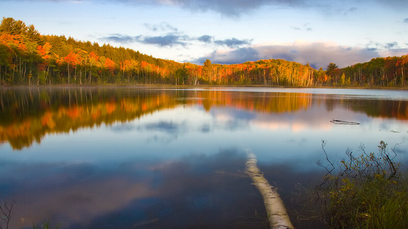 Sunrise light in the fall on Council Lake in the Hiawatha National Forest, MI