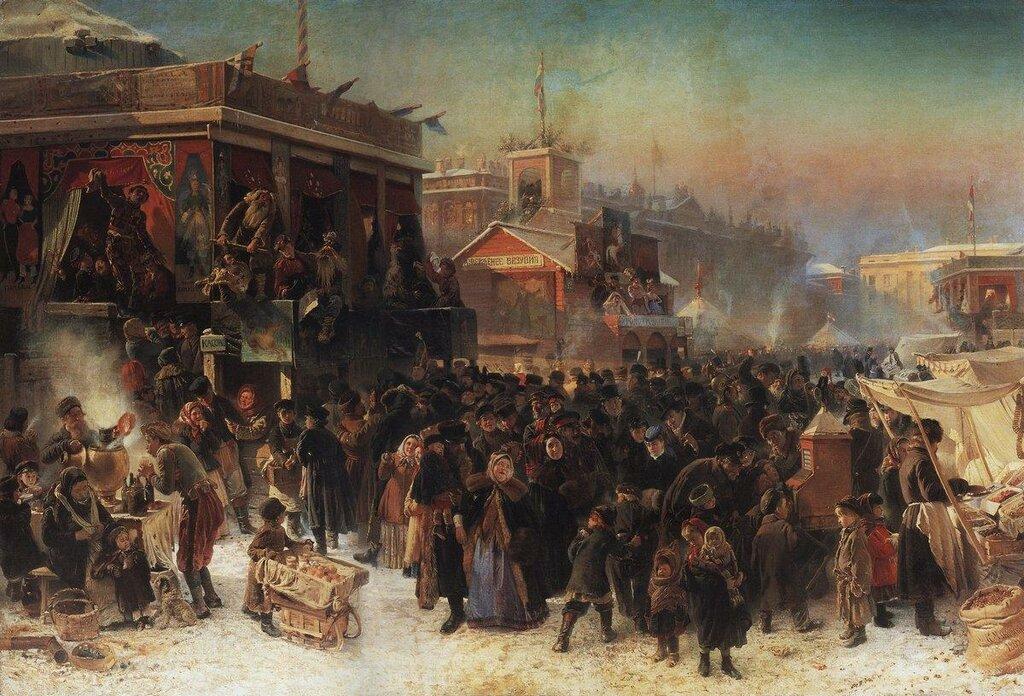 Константин Маковский - Народное гулянье во время масленицы на Адмиралтейской-площади в Петербурге, 1869.